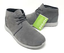 Crocs Kinsale Chukka Boot Shoes Mens Size 9 Charcoal/Pearl White NEW W/TAGS