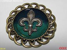 steampunk brooch badge silver fleur de lys French heraldry monarchy lily