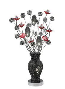 Modern Aluminium Table Lamp Black Red Chrome Crystal 4 Light Round Retro Base