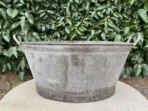 Large  Vintage Galvanised Garden Planter Tin Bath 58 cm long (1245)
