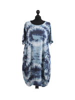 New Womens Italian Tiedye Circle Print Lagenlook Boho Jersey Cotton Tunic Dress