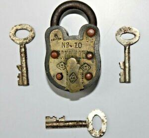 Antique Brass Trick/Puzzle Padlock With Original 3 Keys Decorative copper Rivets