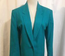 Boston Traveler 1 Button Blazer Jacket Women's 11/12 Aqua Linen Fully Lined