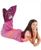 Plush & Playful Kids Mermaid Tail Fleece Throw Reversible Sequin Pink Gold NEW