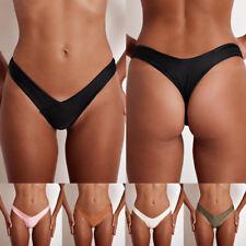 Mujer Negro Fruncido atrevido Braga de bikini brasileño Bañador MICRO TANGA