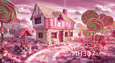 5X3FT Vinyl Photography Backdrop Photo Background Pink Candy House Kids MH307