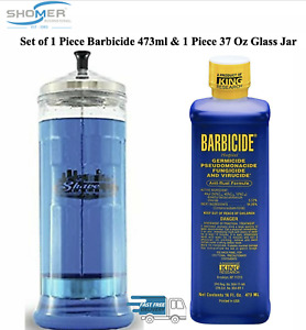 1 X 473ml Barbicide Disinfectant Concentrate Solution and 1 X Barbicide Jar 37oz