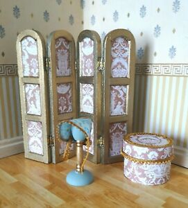 1/12th Scale Handmade OOAK Dolls House 4 Piece Set. Classic Boutique Style.