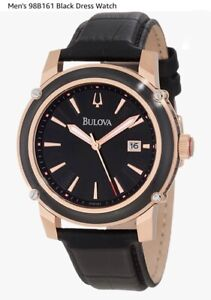 BULOVA BLACK DIAL DATE TWO-TONE BLACK LEATHER MEN'S WATCH 98B161 NEW