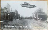 Cazenovia, WI 1913 Realphoto Postcard w/Airplane-Main Street- Wisconsin Aviation