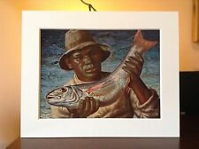 ORIGINAL RARE Tretchikoff Cape Fisherman 1960s - Vintage Mounted Art Print