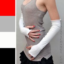 Long Fingerless Glove White Sleeve Arm Warmers Thumb Hole Winter USA Seller 1079