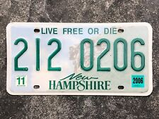 2006 New Hampshire LIVE FREE OR DIE License Plate #212 0206