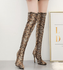Women Pointed Toe Over The Knee Casual Snakeskin Zip Sexy Clubwear Evening Boots