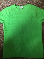 LILLY PULITZER SWEATER Top  Sz Large Green 100% Cashmere Short Sleeve Women's