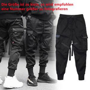 Herren Jogginghose Casual Sporthose Hip Hop Hose Cargohose mit mehreren Taschen