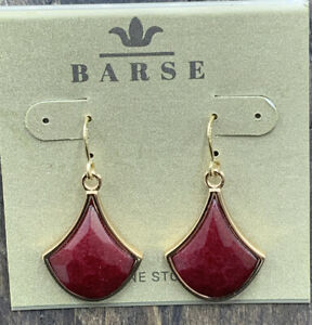 Barse Alexis Earrings- Raspberry Quartz & Bronze- New With Tags
