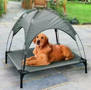 Raised Pet Bed With Canopy Keep Your Pet Cool And Comfortable - Grey