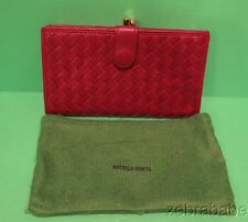 Bottega Veneta Intrecciato  Wallet w Coin Pocket Red Wine Maroon
