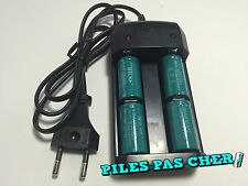 4 PILES ACCUS RECHARGEABLE CR123A 16340 3.7V 1200Mah MECO Li-ion + CHARGEUR 2016
