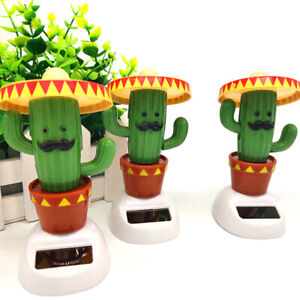 Car Ornaments Cactus Solar Powered Dancing Dolls Toy Swinging Animated Car De OP