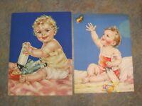 (2) 1930 Brown & Bigelow Sample Calendar Charlotte Becker Baby Lithographs