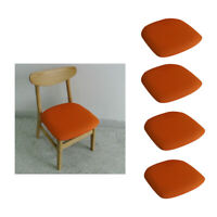 4pcs Dining Chair Seat Covers Stretch Bar Stool Chair Cushion Cover Orange