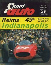 SPORT AUTO n°18 07/1963 GP MONACO & ACF 24h du MANS INDY 500 AVEC ENCART
