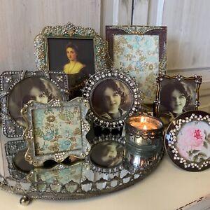 Small Diamante Photo Picture Frame Vintage Style Pretty Jewel Grey Iridescent