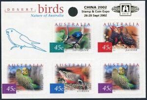 Australia 1995g pane,MNH. China-2002.Variegated fairy wren,Fire-tail,Chat
