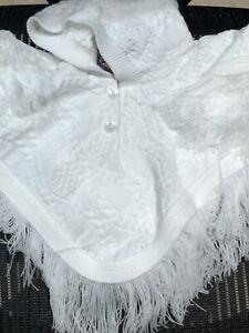 Baby Girls Boys Knitted Poncho Cardigan Jacket White Made in UK Newborn 18 Mths