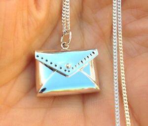 925 Sterling Silver Love Letter Envelope Real Locket Charm Pendant Necklace 2676