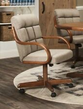 Caster Chair Company Camile Swivel Tilt Caster Arm Chair in Toast Tweed Fabric