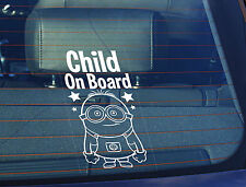 Static Cling Window Car Sign/Decal Child on Board 150 x 100mm Minion Despicable
