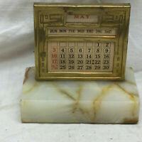 Vintage Desk Calendar with Marble Base