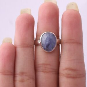 Gift For Her Silver Blue Sapphire Jewelry Solitaire Blue Ring Size 10 KB06508