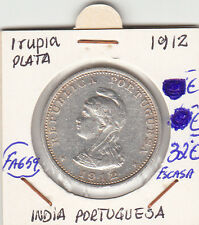 FA659 MONEDA INDIA PORTUGUESA 1 RUPIA PLATA 1912 ESCASA