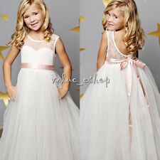 Girl Communion Party Prom Princess Pageant Bridesmaid Wedding Flower Dress 12