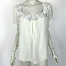 Rebecca Minkoff Ivory Silk Blend Top Short Sleeve Lace Square Neck Womens Large