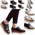 Womens Platform Wedge Heels Shoes Flat Lace Up Brogue Oxford Chunky Creepers