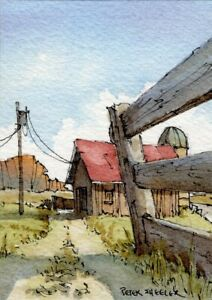 "Country Barn ACEO 2.5""x3.5"" Original Watercolor Peter Sheeler rural farm fence"