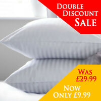 Hotel Quality Egyptian Stripe Pillows Luxury Soft Hollowfibre Filled -  2 Pack
