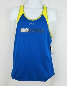 NWT Asics Men's 2014 Pittsburgh Marathon Singlet Tank Top Blue/Yellow Size M-L