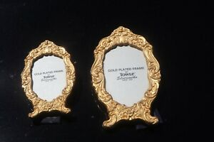 Ornate Towle Silversmiths Round Oval Picture Frame Set Gold Plated
