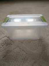 Sterilite Storage Container Clear With Locking Green Handles