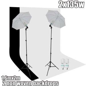 Photo Studio Continuous Umbrella Lighting Light Stand+Screen 2 Backdrops Kit