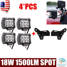 "4X 4""inch 18W CREE LED Light Bar SPOT+Mounting Bracket Fit For Jeep Wrangler JK"