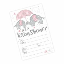 Pink Elephant Girl Baby Shower Invitations (20 Count) with Enve. Free Shipping