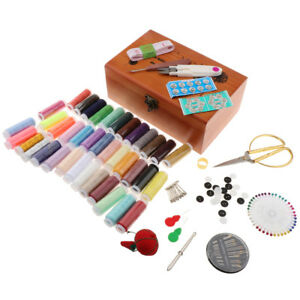 Sewing Accessories Kit W/ Wooden Sewing Box for Adults Camping Home Travel