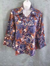 Vintage 70's Womens Polyester Shirt Size Xl Bold Print Hippy Top